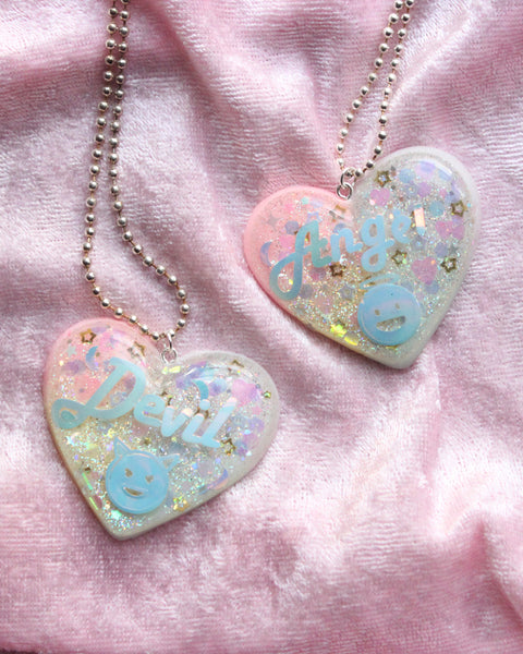Bundle Angel & Devil Heart Pendant Necklace - Feelin Peachy