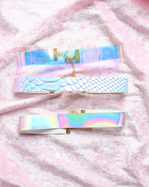 Clear Opal Faux Holographic Snake  Choker Set Of 3