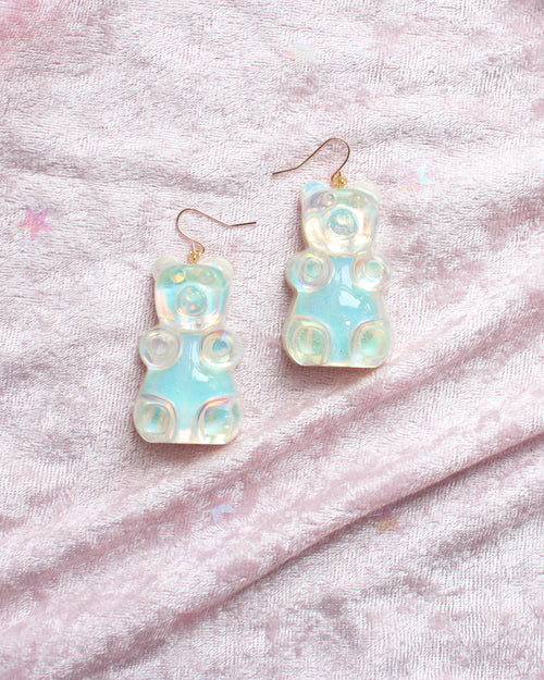 Large Irdescent Gummy Bear Dangle Earrings - Feelin Peachy