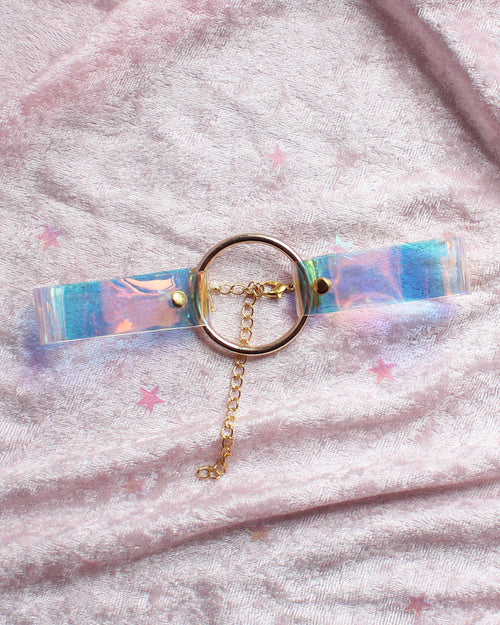 Iridescent O-ring Choker Necklace - White - Feelin Peachy