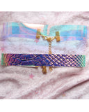 Clear Opal Black Faux Holographic Snake  Choker Set Of 2 - Feelin Peachy