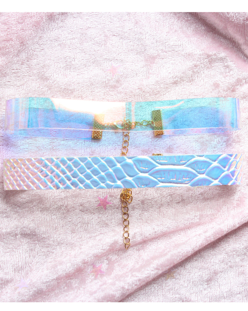 Clear Opal White Faux Holographic Snake  Choker Set Of 2 - Feelin Peachy
