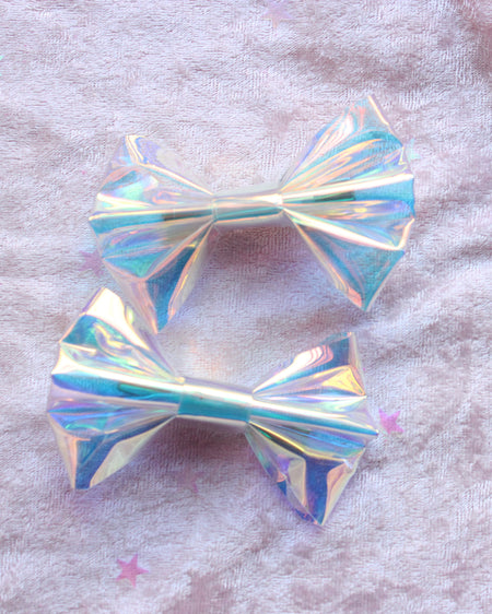 Faux Leather Hologram Holographic Hair bow Clips Set