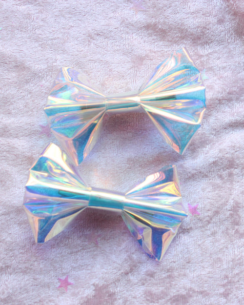 Iridescent Hair Bow/Hair clips/ Set Of 2 - Feelin Peachy