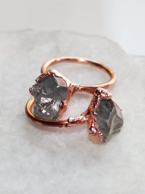 Aquamarine Raw Copper Ring - Feelin Peachy