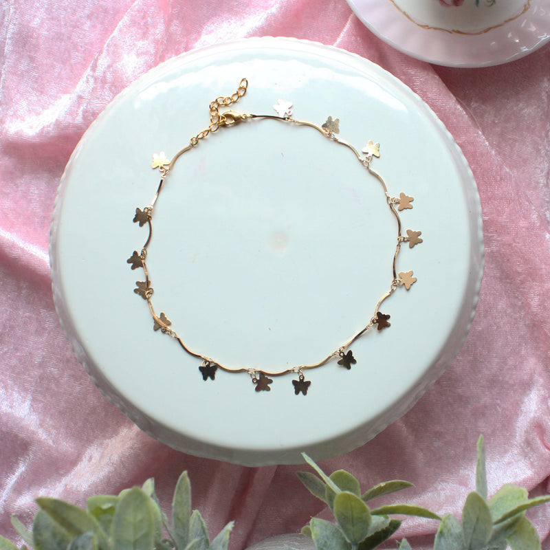 Gold Tiny Butterfly Charm Kawaii Choker Necklace For Layering