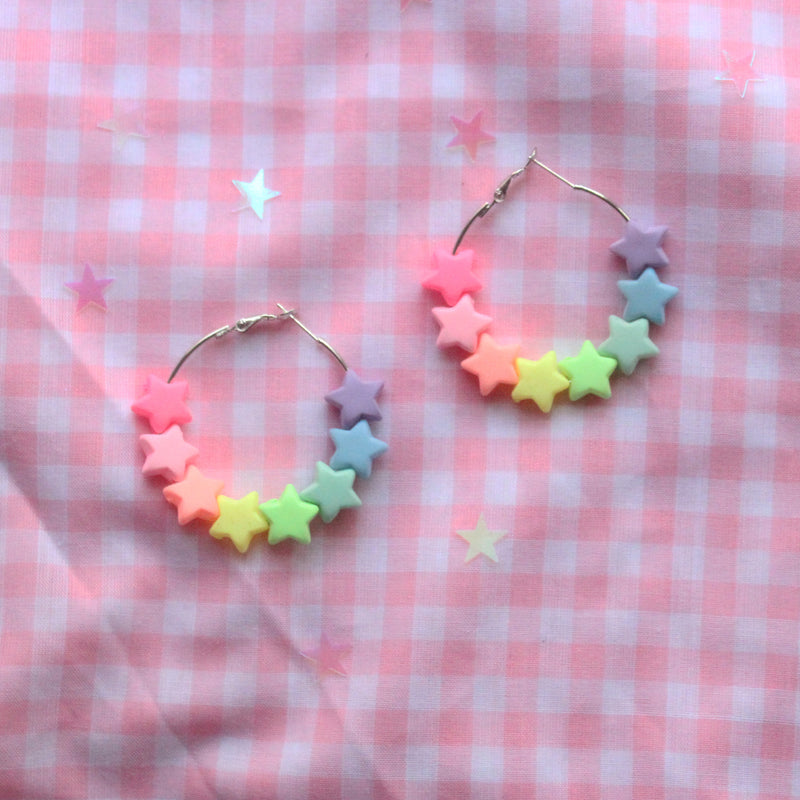 Rainbow Florescent Neon Kawaii Fairy Kei Star Hoop Earrings