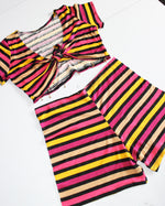 Vintage Inspired Striped Top & Shorts Set