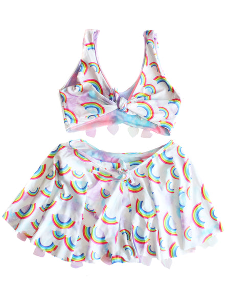 Rainbow Reversible Heart Sequin Skirt Set