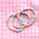 Kawaii Pastel Fairy Kei Kandi Heart Rave Beaded Letter Charm Bracelet Stack(Set of 3)
