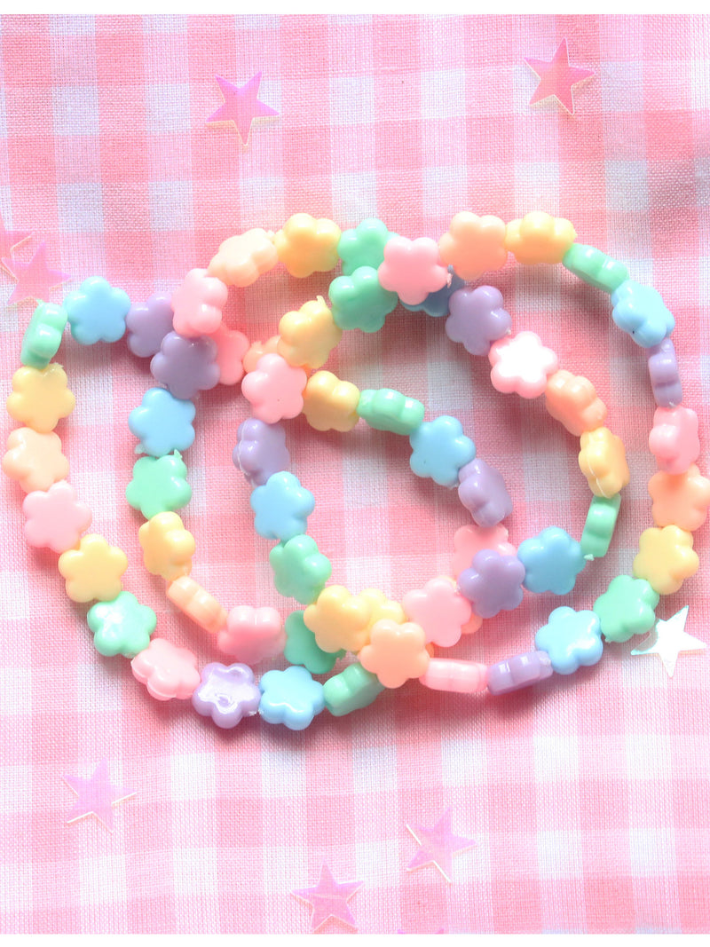 Kawaii Pastel Fairy Kei Kandi Flower Rave Beaded Letter Charm Bracelet Stack(Set of 3)