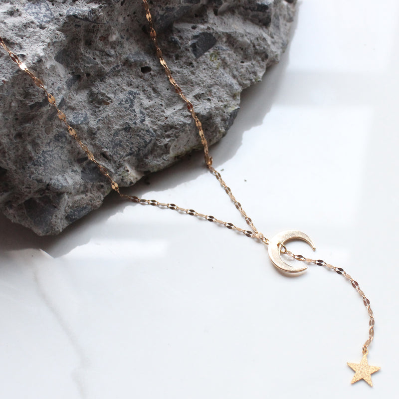 Y 18K Gold Plated Crecent Moon Druzy Triangle Necklace