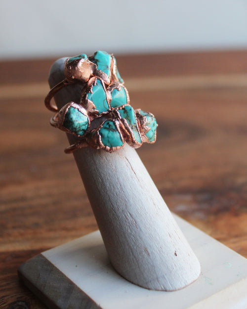 Cluster Turquoise Raw Copper Ring