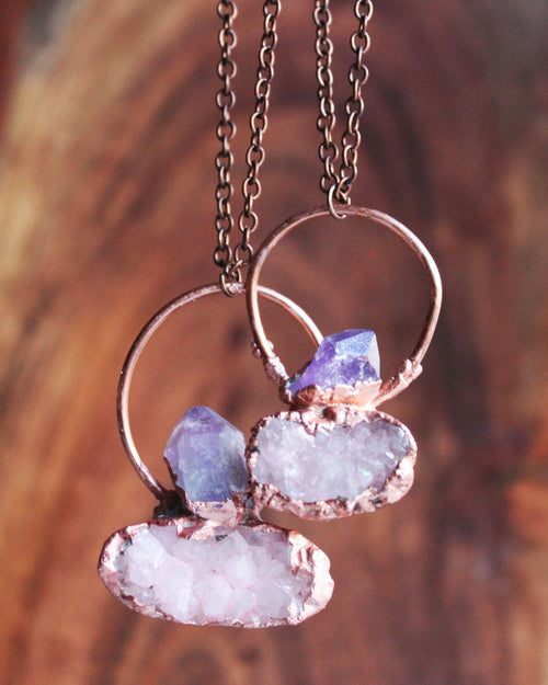 Amethyst Pink Druzy Copper Necklace
