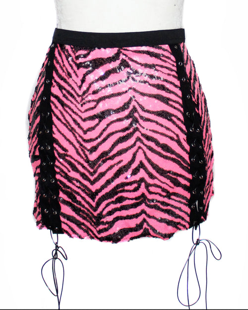 Hot Pink Zebra Sequin Tie Skirt