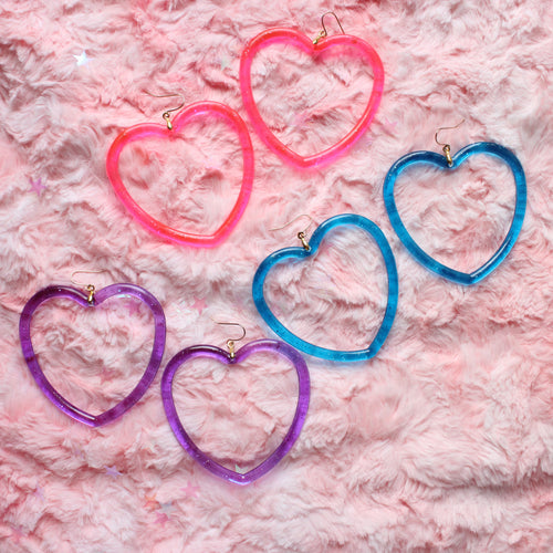 Florescent Kawaii Hoop Neon Heart Earrings