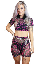 Purple Flame Mesh Biker Shorts
