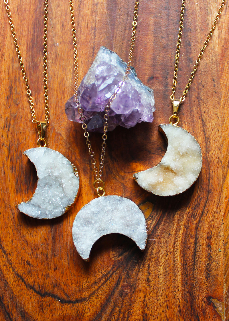 Druzy Crescent Moon 18K Gold Plated Necklace