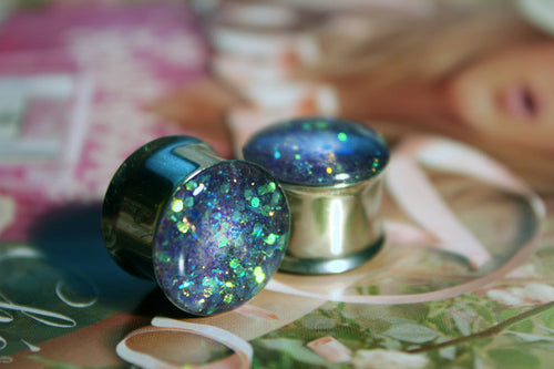 Lilac Glitter Stainless Steel Plugs 7/8th+ - Feelin Peachy