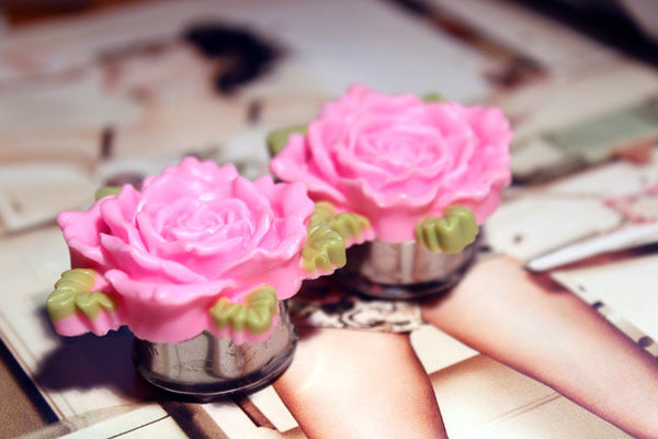 Rose Stainless Steel Plugs 7/8th+