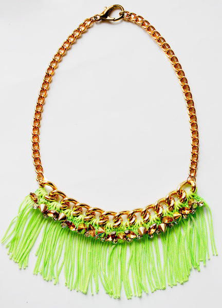 Neon Green Crystal Fringe Statement Necklace