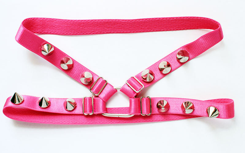 Hot Pink Sliver Spiked Cage Garters - Feelin Peachy