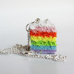 Kawaii Miniature Rainbow Layered Cake Slice Pendant Necklace - Feelin Peachy