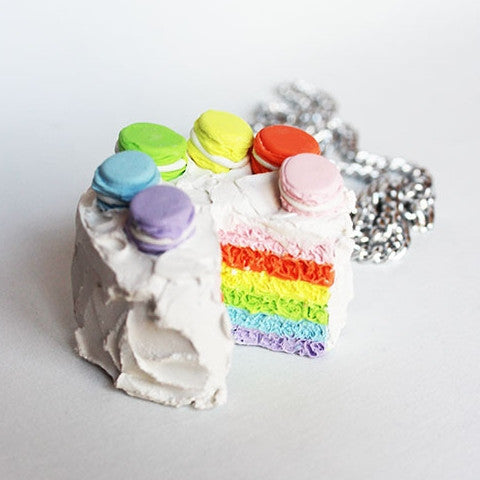 Kawaii Miniature Rainbow Layer Macron Cake Pendant Necklace - Feelin Peachy
