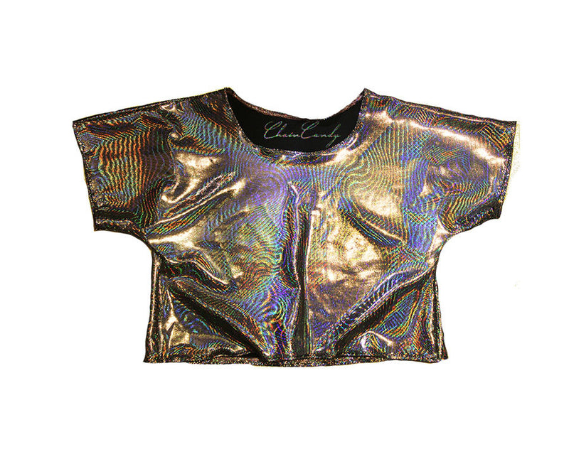 Hologram Relaxed Cropped Top T-shirt - Feelin Peachy