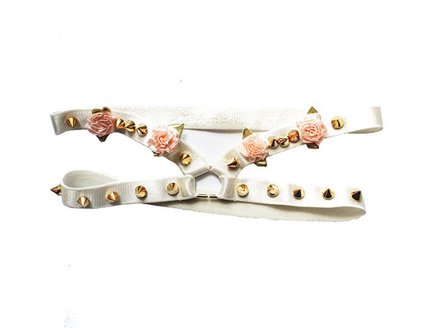 ChainCandy Pink Pastel Ribbon Flowers Gold Spiked Cream Leg Thigh Garters - Feelin Peachy