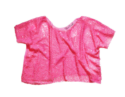 Hot Pink Sequin Meshed Boxy Relaxed Cropped Top T-shirt - Feelin Peachy