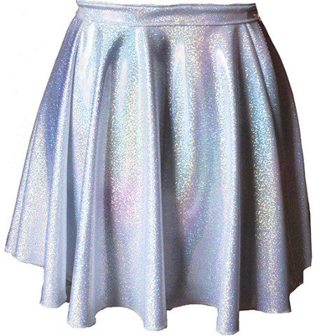 Hologram Holographic Silver High Waisted Circle Skirt - Feelin Peachy