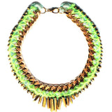 Chunky Gold Chain Raw Crystals Collar Statement Necklace - Feelin Peachy