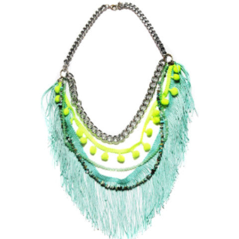 Fringe and Pom Pom Necklace