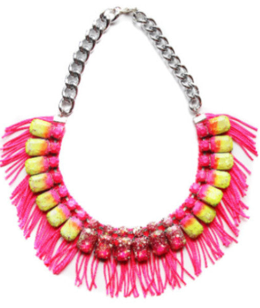 Ombre Rhinestone Fridge Statement Necklace