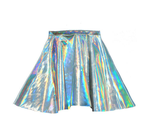 Holographic Hologram Leather Rave Circle Skirt - Feelin Peachy