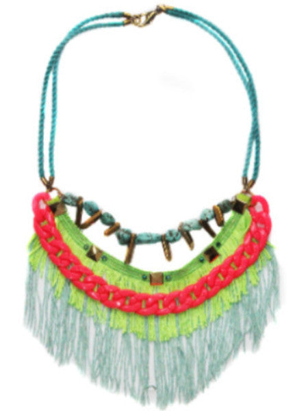 Gold Quartz Turquoise Fringe Necklace