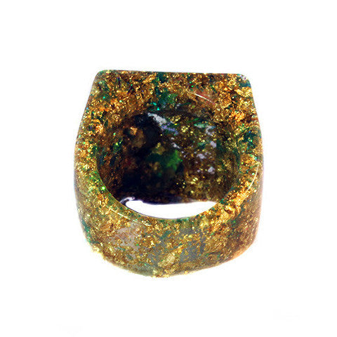 Gold & Glitter Resin Ring