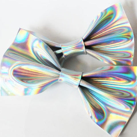 Faux Leather Hologram Holographic Hair bow Clips Set - Feelin Peachy