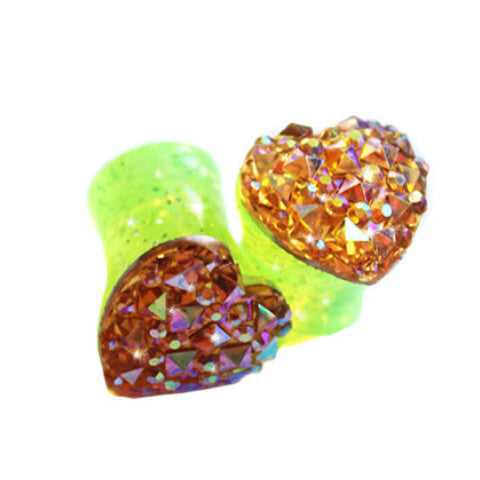 Neon Yellow Heart Double Flare Glitter Acrylic Plugs