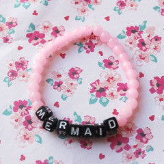 Mermaid Pastel Pink Stretch Bracelet - Feelin Peachy