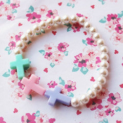 Kawaii Pastel Rainbow Cross Pearl Bracelet - Feelin Peachy