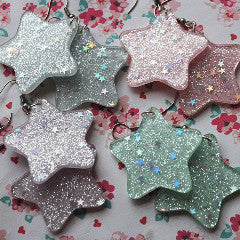 Kawaii Pastel Resin Glitter Star Dangle Earrings - Feelin Peachy