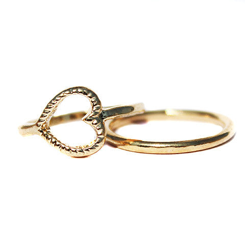 Gold Heart Midi Ring Set