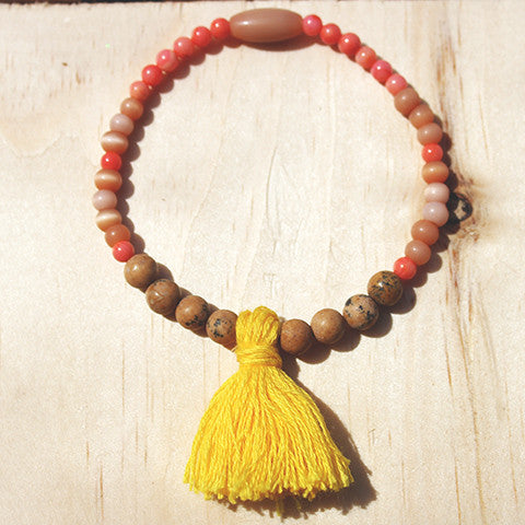 Ubon Gemstone Beaded Tassel Bracelet