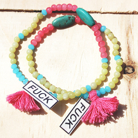 F%&# Charm Gemstone Beaded Tassel Bracelet - Feelin Peachy