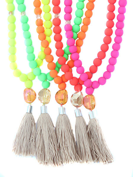 Long Neon Tassel Necklace - Feelin Peachy