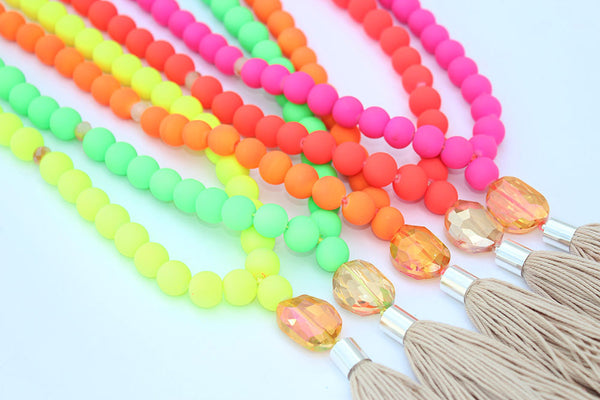 Long Neon Tassel Necklace
