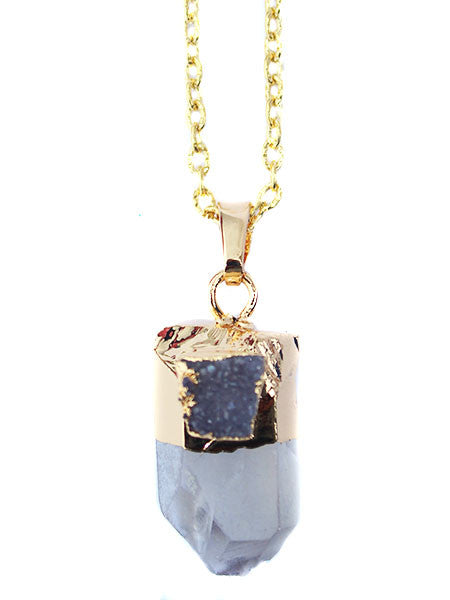 Sade Gold Plated Agnate Quartz Pendant