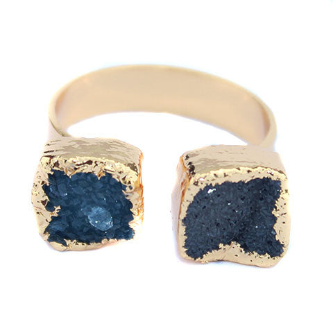 Druzy Agnate Gold Ring